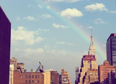 buildings, city, urban, new york, sky, clouds, rainbow