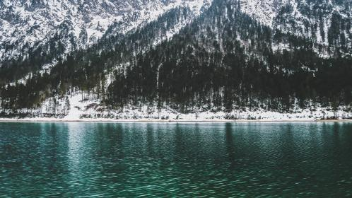 water, mountain, valley, river, liquid, plants, trees, pine, snow, green, white, nature, land, formation