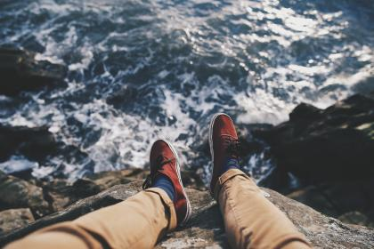 shoes, pants, fashion, clothes, lifestyle, cliff, mountains, ocean, sea, waves, coast