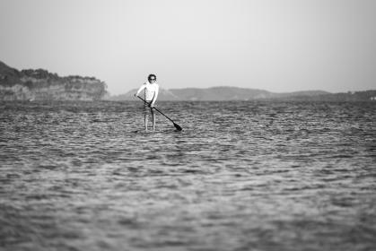 paddle, boat, sailing, people, man, sport, sea, ocean, water, nature, adventure, travel, black and white