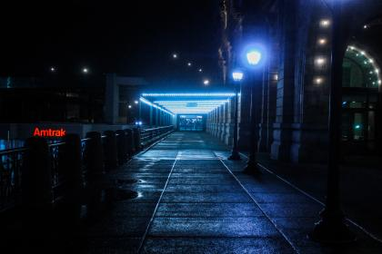architecture, building, infrastructure, hallway, lights, pathway, night