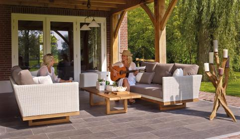 chair, sofa, couch, wooden, table, outside, lawn, green, grass, nature, fresh, view, floor, tile, vacation, relax, tableware, flower, trees, house, glass, lamp, guitar, music, people, friend, women, talking, smile, happy, sunny, day, candle
