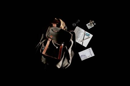 travel, bag, backpack, notebook, book, pennies, watch, black