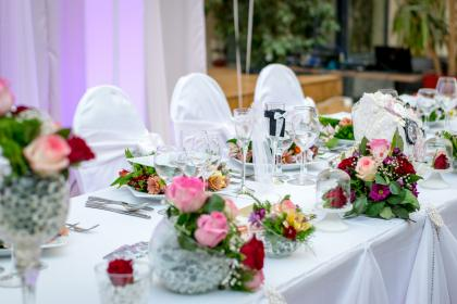 wedding, celebration, table, setup, flower, cloth, skirting, design, wine, glass, tableware, chairs