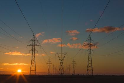 sunset, electricity, electrical, wires, sky, clouds, light, view, mountain, nature, blue