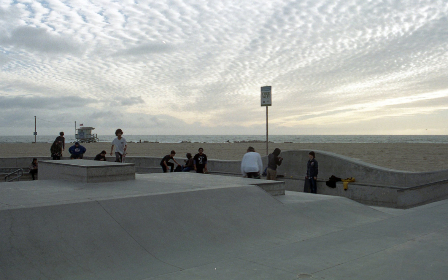 skateboarder,   venice,   sport,   california,   action,   activity,   concrete,   outdoors,   park,   coast,   beach,   people,   vintage,  sky,  clouds,  horizon