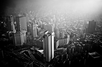 architecture, buildings, office, residential, city, high rise, urban, metro, fog, black and white