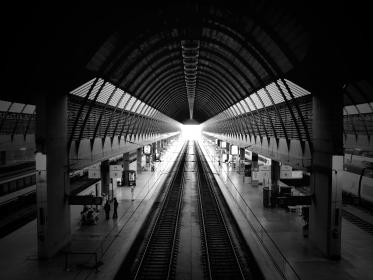 santa justa train station, black and white, monochrome, travel, transportation, railway, track, building