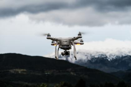drone, camera, clouds, sky, video, record, white, mountain