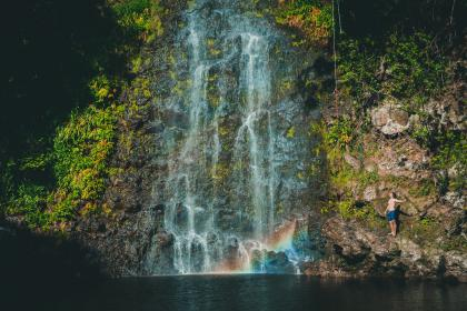 waterfall, green, grass, moss, tree, plant, nature, water, people, man, swimming, rainbow, landscape, adventure, outdoor