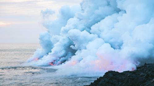 sea, ocean, blue, water, nature, rocks, coast, clouds, sky, smoke, volcanic, landform