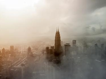 architecture, building, infrastructure, twin, tower, city, urban, dark, fog, cold