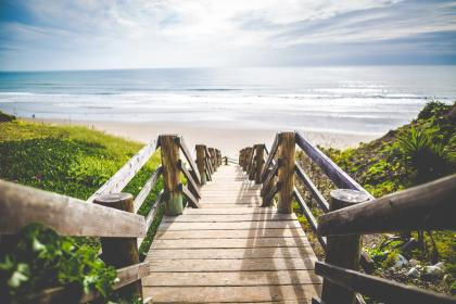 sea, ocean, water, waves, nature, beach, coast, shore, wooden, stairs, landscape, outdoor, highland, green, grass