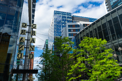 architecture,   building,   sky,   urban,   city,   downtown,   tall,   buildings,   office,   business,  sign,  glass,  windows,  hotel,  trees
