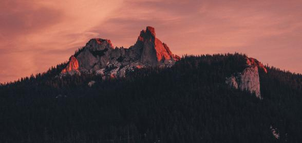 mountain, highland, cloud, sky, summit, ridge, landscape, nature, valley, hill, cliff, rocks, view, travel, sunset, forest, trees, plant