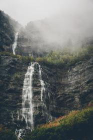 waterfall, hill, green, grass, trees, plant, nature, landscape, fog, cold