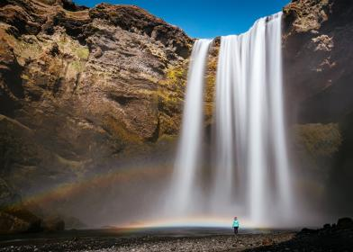 waterfall, hill, rocks, water, blue, sky, nature, rainbow, people, travel, outdoor