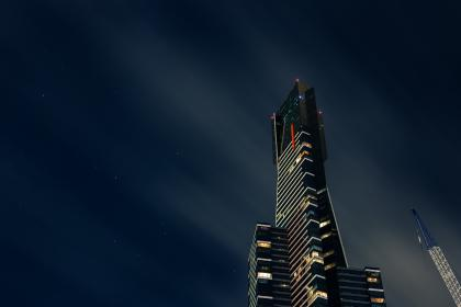 architecture, building, infrastructure, dark, night, light, tower, skyscraper