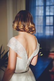 people, woman, gown, wedding, dress, marriage, formal, white, backless