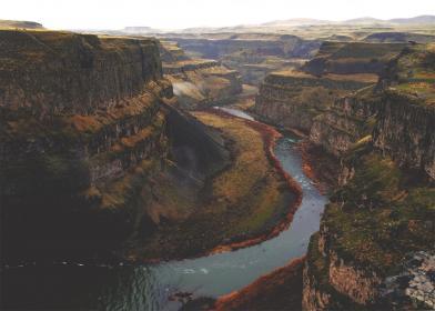 landscape, canyon, river, stream, cliffs, nature, hills