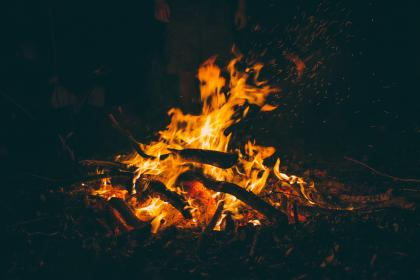 still, camp, fire, flames, hot, burning, wood, charred, ashes, light, shadows