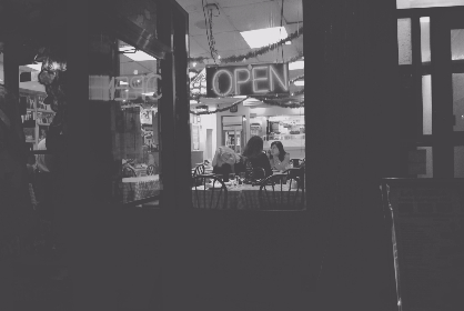 city,  cafe,  shop,  coffee,  woman,  customers,  open,  neon,  sign,  black & white,  vintage