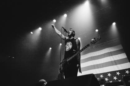 black and white, people, man, stage, spotlight, rock, band, musician, guitar, speaker, flag, usa