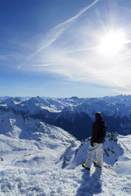 ski,  snowboard,  mountains,  alps,  view,  snow, blue,  sky, clouds