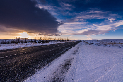 cold,  winter,  road,  snow,  ice,  slippery,  iceland,  travel,  sunset,  sky,  clouds,  landscape,  rural,  tundra,  frozen,  asphalt,  nature,  outdoors,  outside