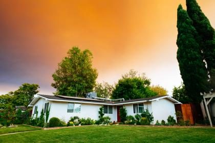 sky, sunset, house, green, grass, view, trees, nature, plant