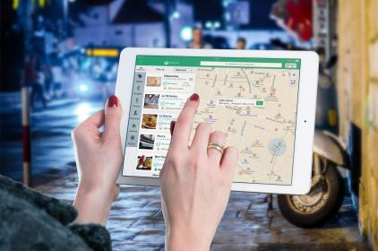 map, gps, navigation, directions, travel, trip, hands, fingers, tablet, ipad, technology