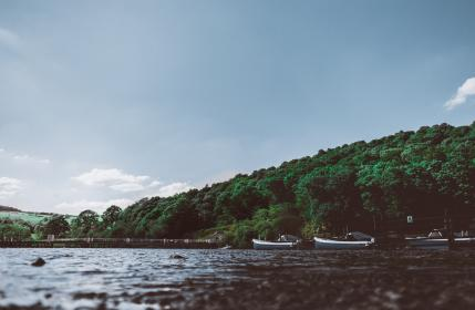 sea, ocean, water, waves, nature, boat, trees, plants, mountain, landscape, blue, sky, outdoor, travel
