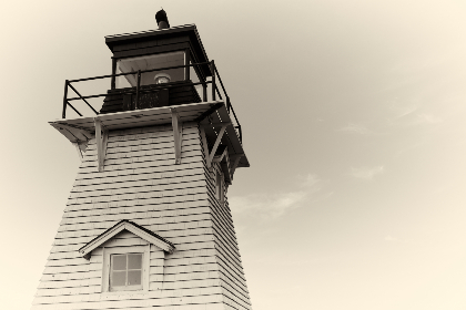 lighthouse,   sky,   architecture,   coast,   island,   landmark,   light,   building,   scenic,   historic,   weather,  window,  close up,  vintage,  sepia,  old