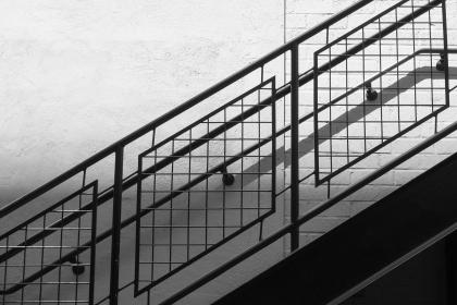 stairs, railing, steps, architecture, black and white