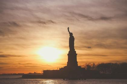 Statue of Liberty, shadow, silhouette, sunset, dusk, sky, clouds, water, nature, landscape
