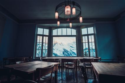 meeting, room, wooden, table, chairs, furniture, window, mountain, view, light, bulb, design