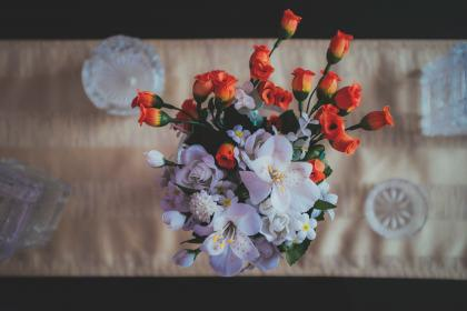 artificial, flowers, table, cloth, display