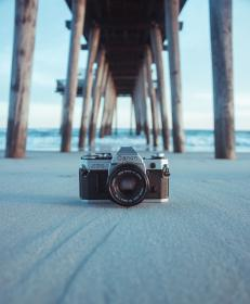 camera, lens, blur, sea, water, shore, wave, beach, wooden, bridge, blue, sky
