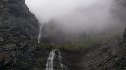 waterfall, green, tree, nature, water, cold, mountain, landscape, fogs, hill, rock