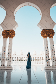 woman,   mosque,  architecture,  building,  religion,  muslim,  sun,  summer,  marble,  dome,  white