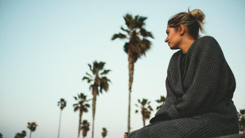 people, woman, cold, weather, jacket, beauty, bun, trees, coconut, tree, beach, ocean, sea