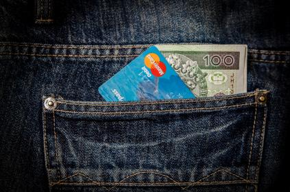 money, bills, notes, dollars, finance, cash, credit card, jeans, pocket, denim