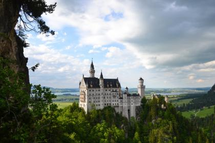 neuschwanstein, castle, landscape, trees, leaves, clouds, terrain, lush, picturesque