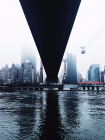nyc,   new york,   architecture,   bridge,   car,   city,   fog,   reflection,   river,   under,   urban,   water,   hd