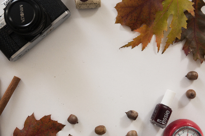flat lay,  camera,  autumn,  leaves,  fall,  foliage,  makeup,  clock,  desk,  freelance