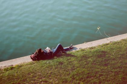 nature, grass, water, people, man, guy, reading, lying