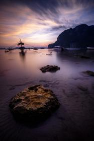 dark, sky, sunset, rocks, water, sea, shore, beach, coast, mountain, fishing, boat