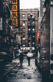 chinatown,  walking,  street,  rain,  wet,  urban,  alley,  buildings,  architecture,  people,  umbrella,  signs,  market,  chinese,  asia,  tourism,  travel,  culture