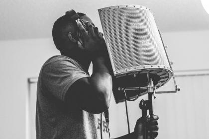 guy, singing, headphone, microphone, studio, music, musical, recording, people, black and white, room