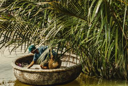 green, plants, nature, people, man, boat, river, water, vietnam, outdoor